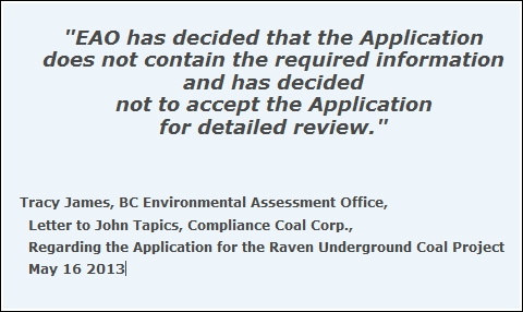 EAO sends application back for revisions
